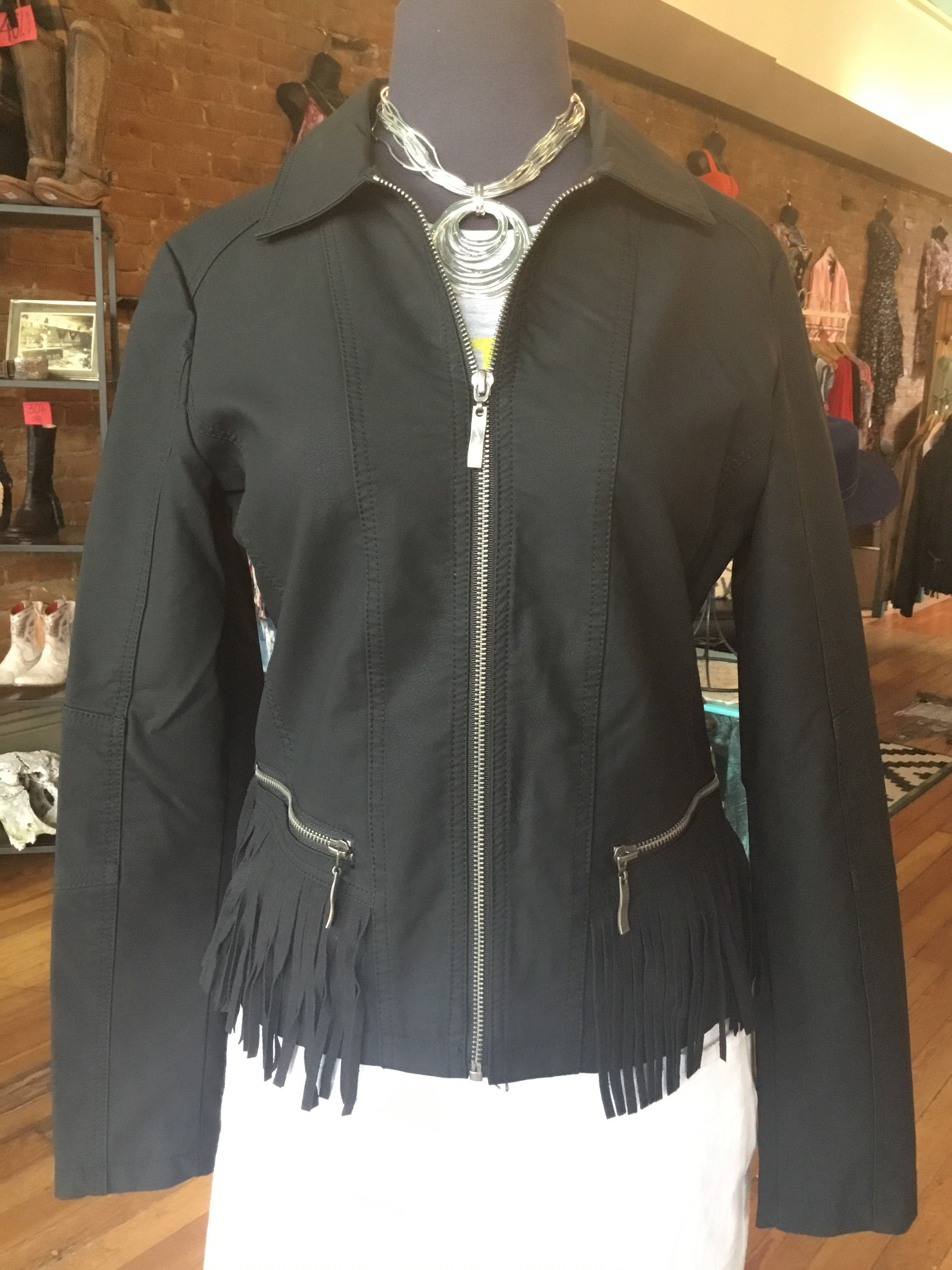 Montanaco Prairie Wind Faux Leather Jacket with Fringe in Black - tempting-teal-boutique