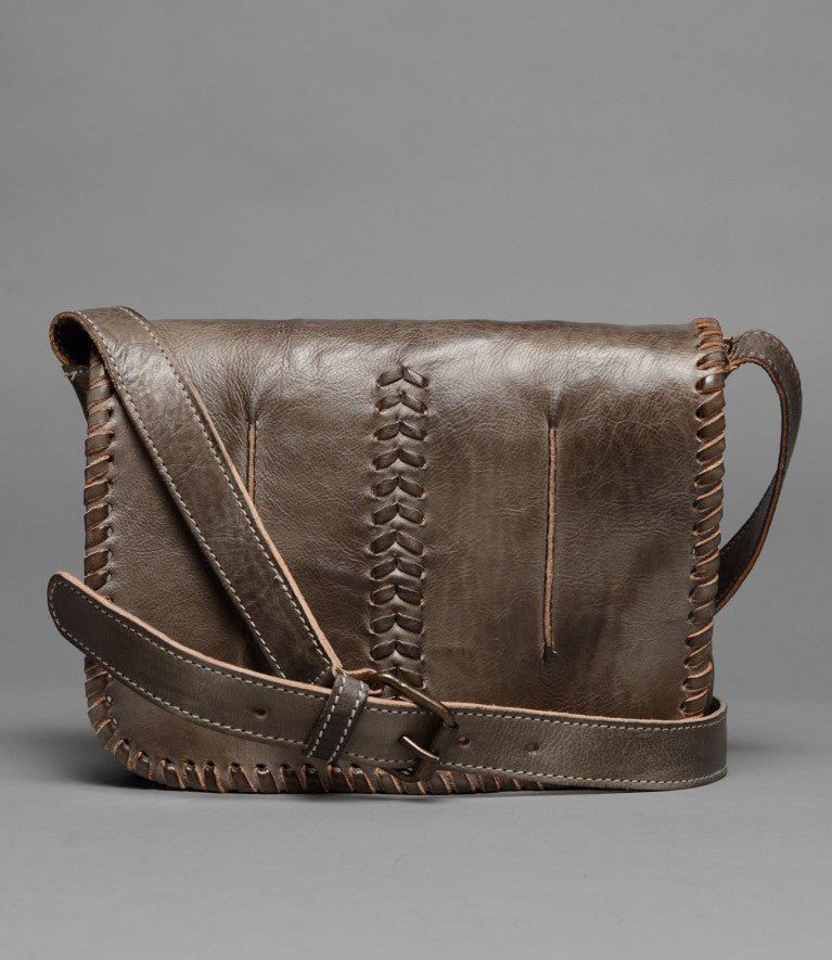 Bed Stu Frankie Leather Crossbody Bag in Taupe Rustic