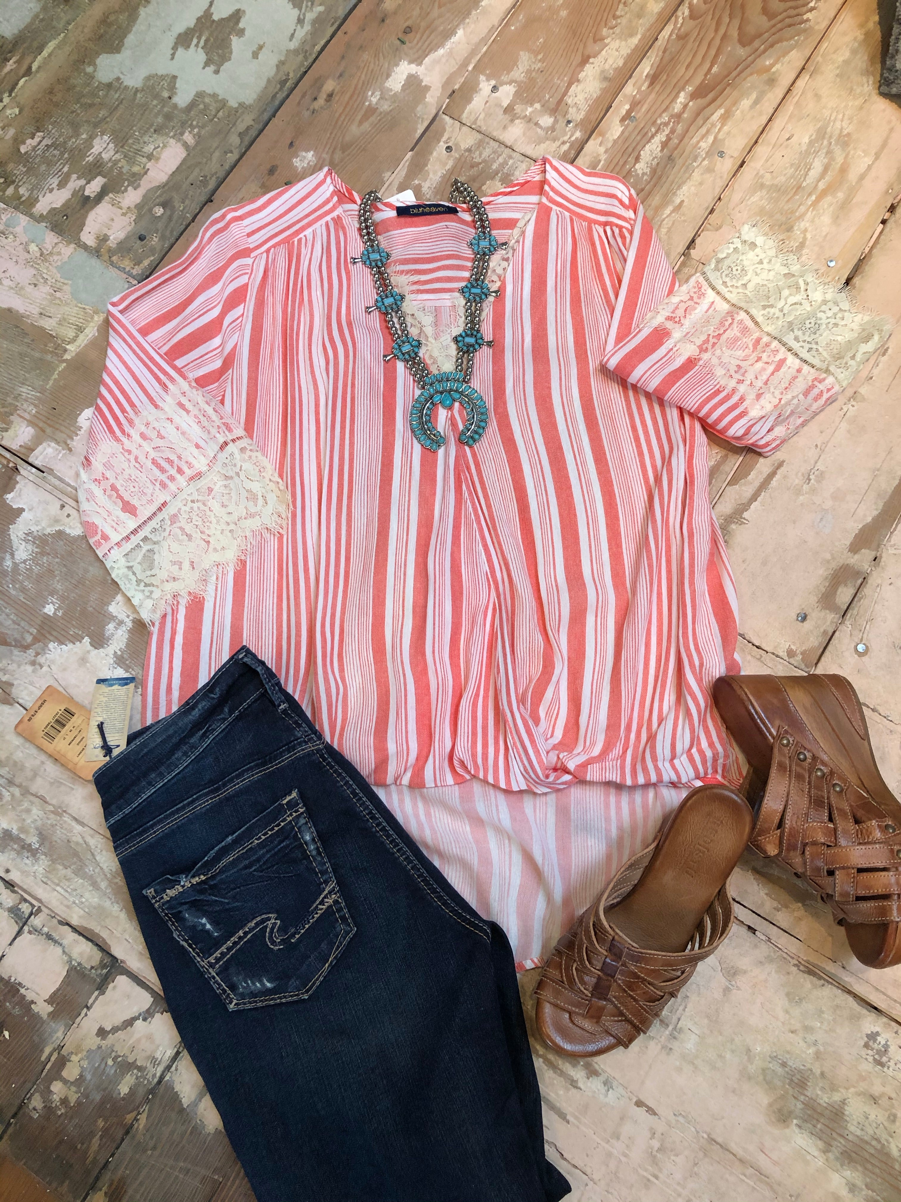 Striped 3/4 Lace Sleeve Crossbody V-Neck Top in Watermelon