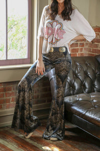 Black LeFleur Velvet Western Rodeo Bell Bottom Pants by Turquoise Haven