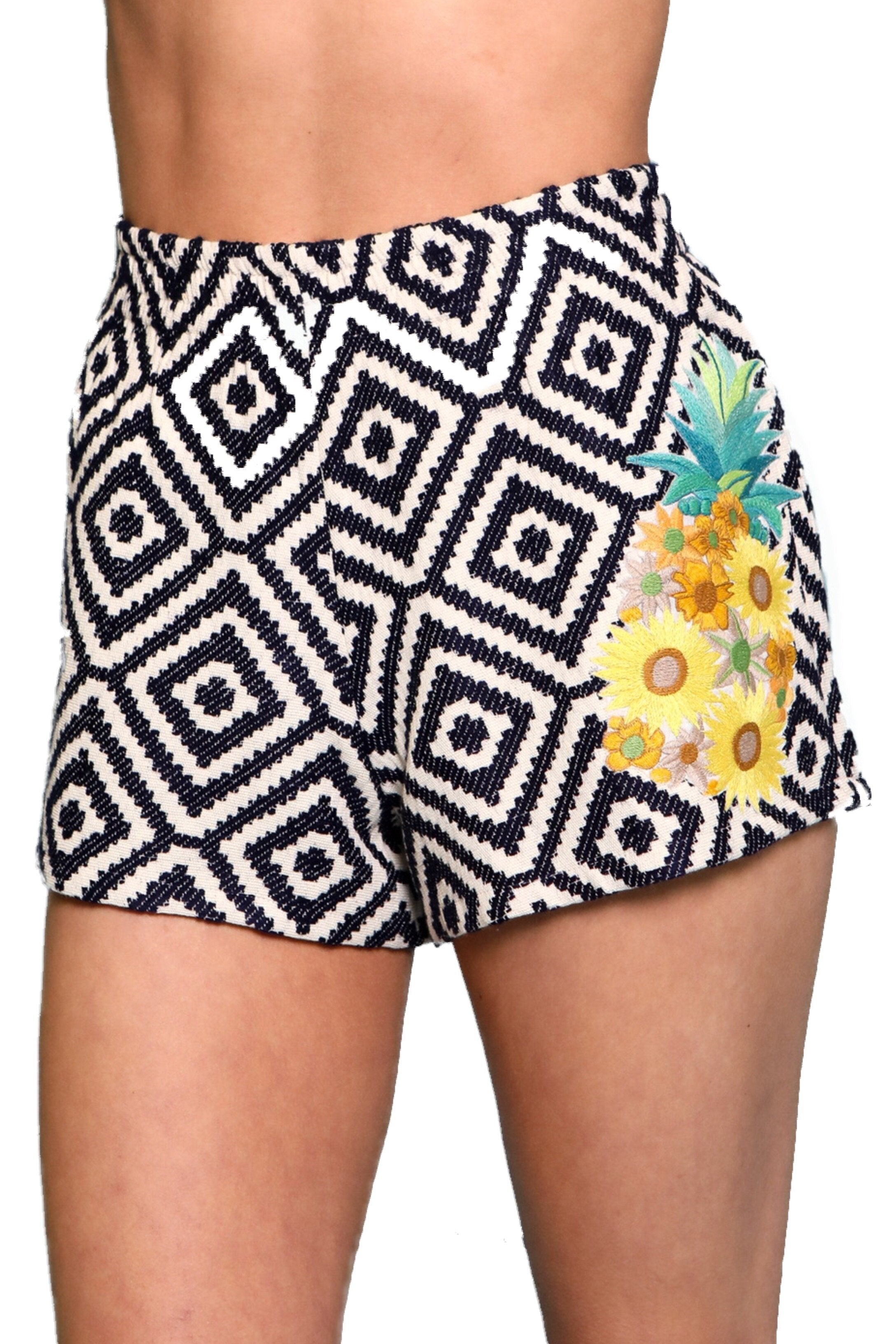 Navy Diamond Jacquard Shorts w/ Floral Embroidery