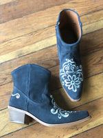 Agave Sky Ankle Vintage Floral Leather Suede Boot in Gray with Cream Embroidery