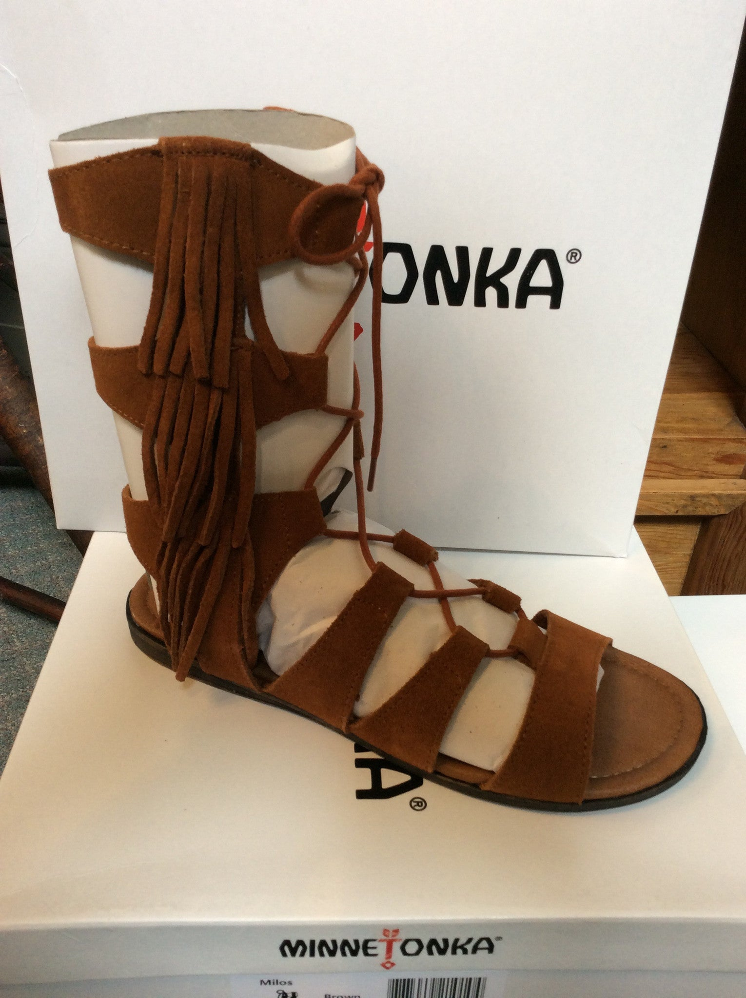 Minnetonka Brown Milos Tall Sandal - tempting-teal-boutique