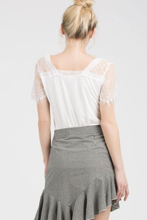 V-Neck Tee with Lace Shoulder and Short Sleeve in Ivory