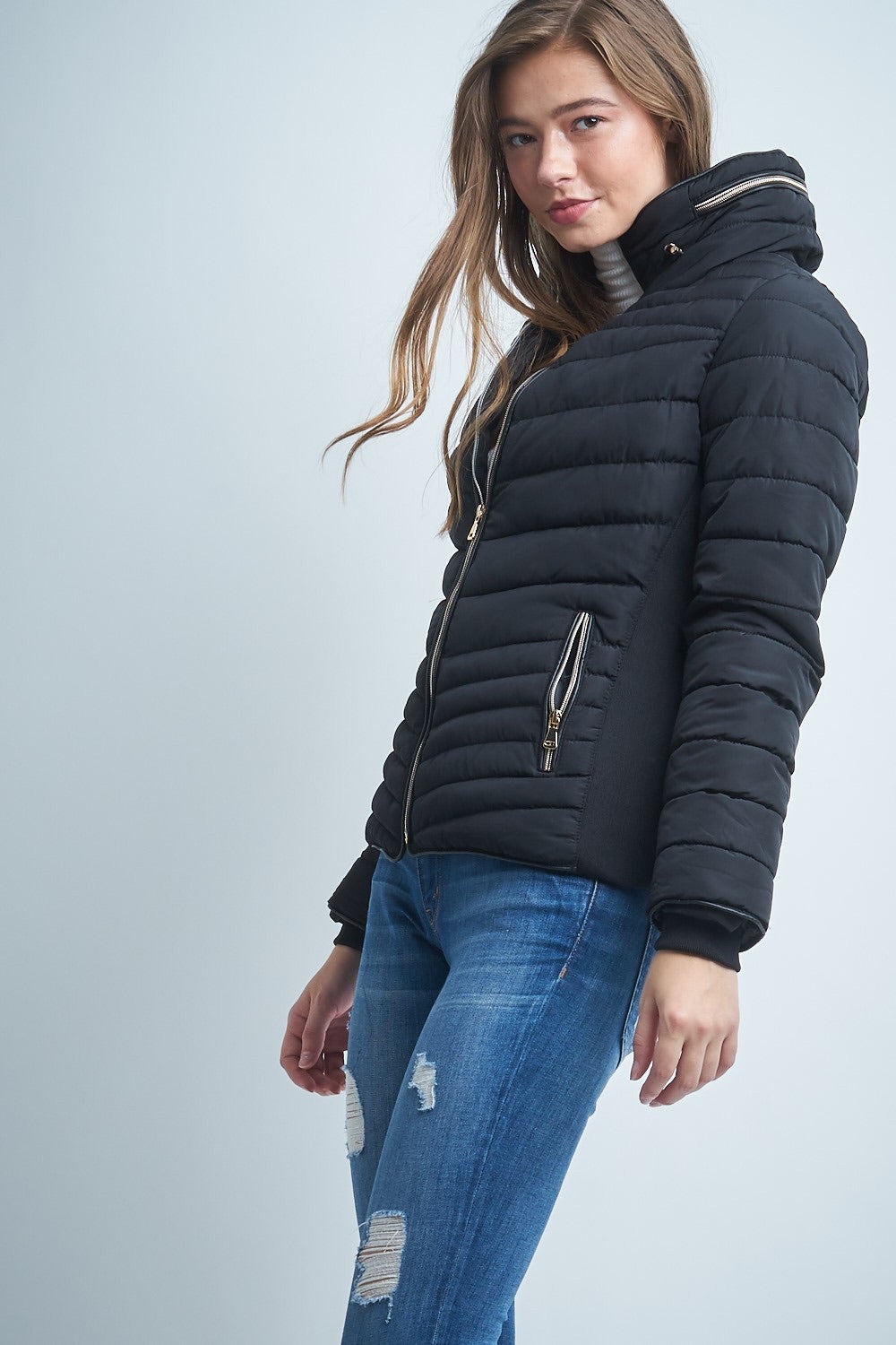 Long Sleeved Parka Jacket with Hood in Black