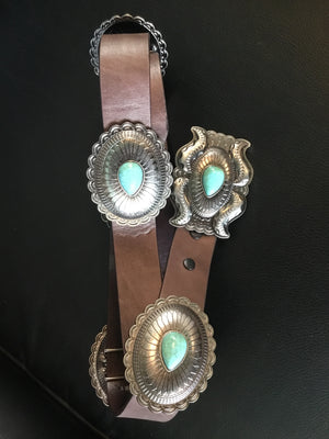 L&B Brown Leather Belt with Turquoise Stone Conchos - tempting-teal-boutique