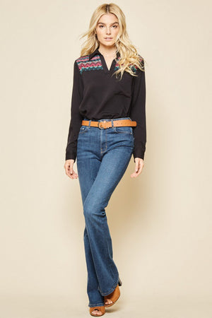 Black Pullover Shirt w/ Embroidery Detail