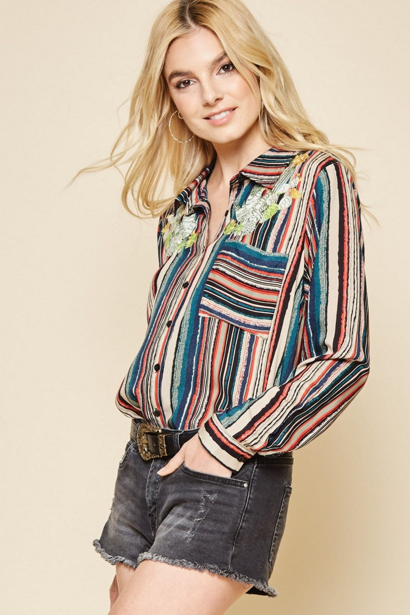 Multi Color Striped Button Up Shirt with Embroidered Cactus