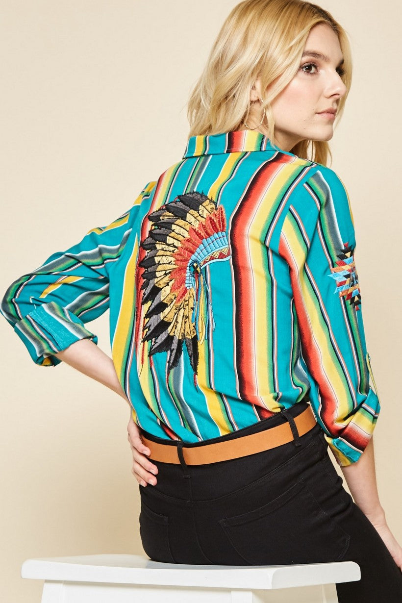 Turquoise Striped Button up Shirt w/Embroidered Headdress on Back