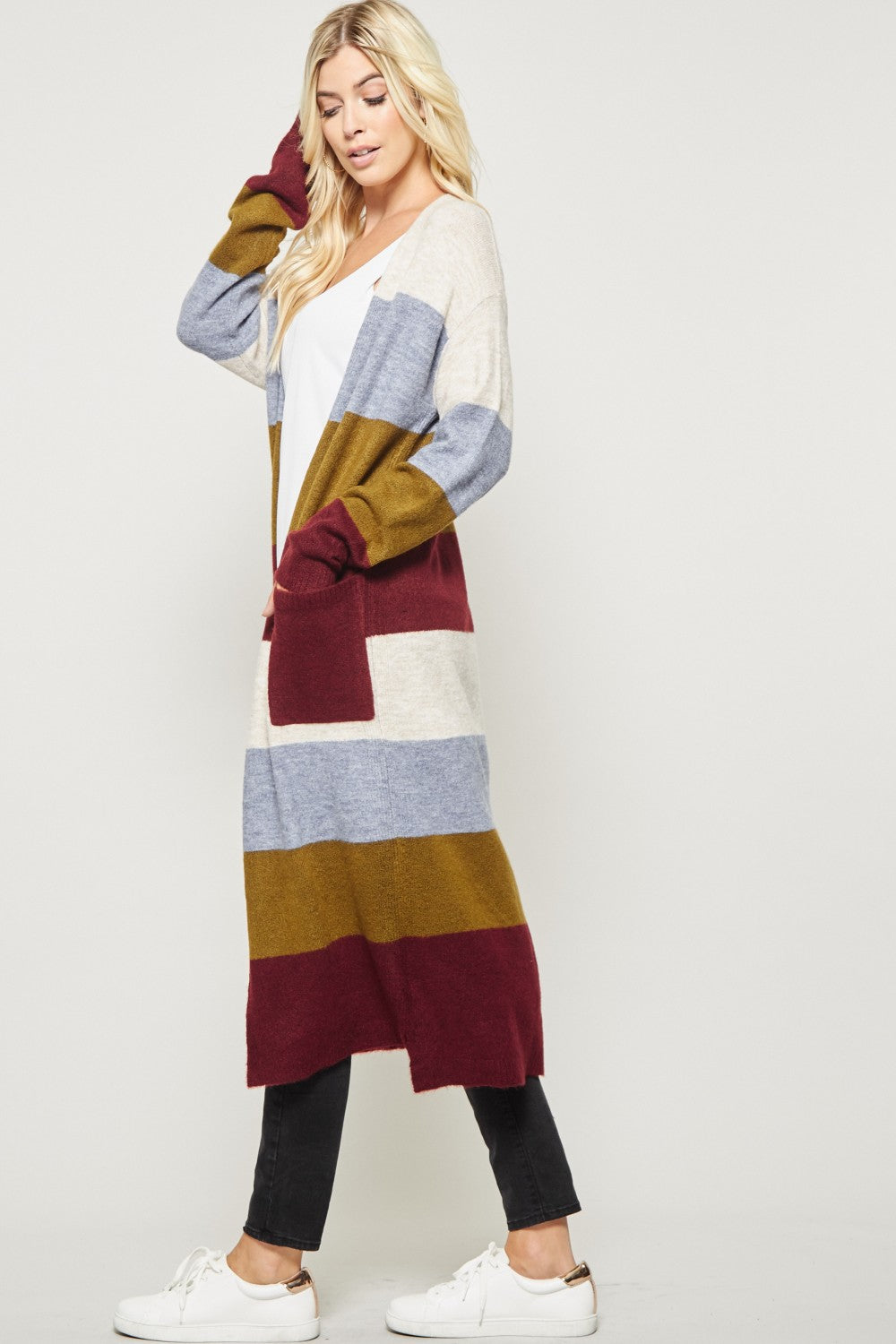 Long Striped Cardigan w/ Pockets