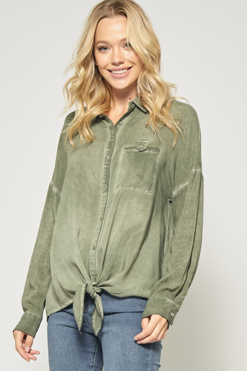 Front Tie Washed Dye Top in Olive