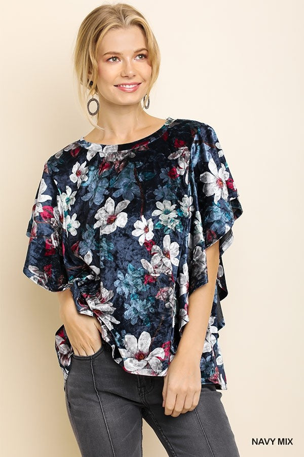 Floral Print Velvet Top in Navy Mix