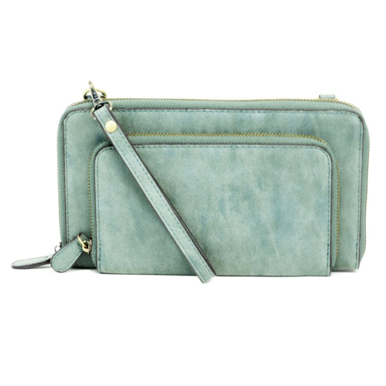 Brushed Mini Convertible Zip Around Purse - tempting-teal-boutique