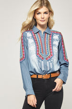 Denim Embroidered Button Down Top