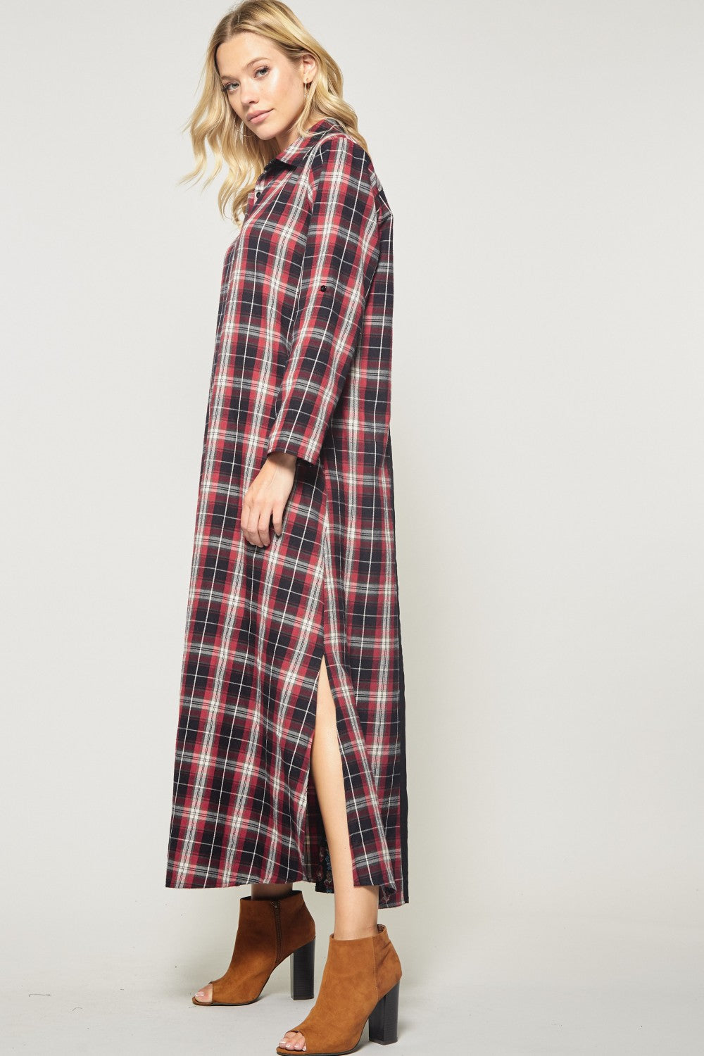 Plaid Button Down Maxi Dress w/ Embroidery Detail on Back
