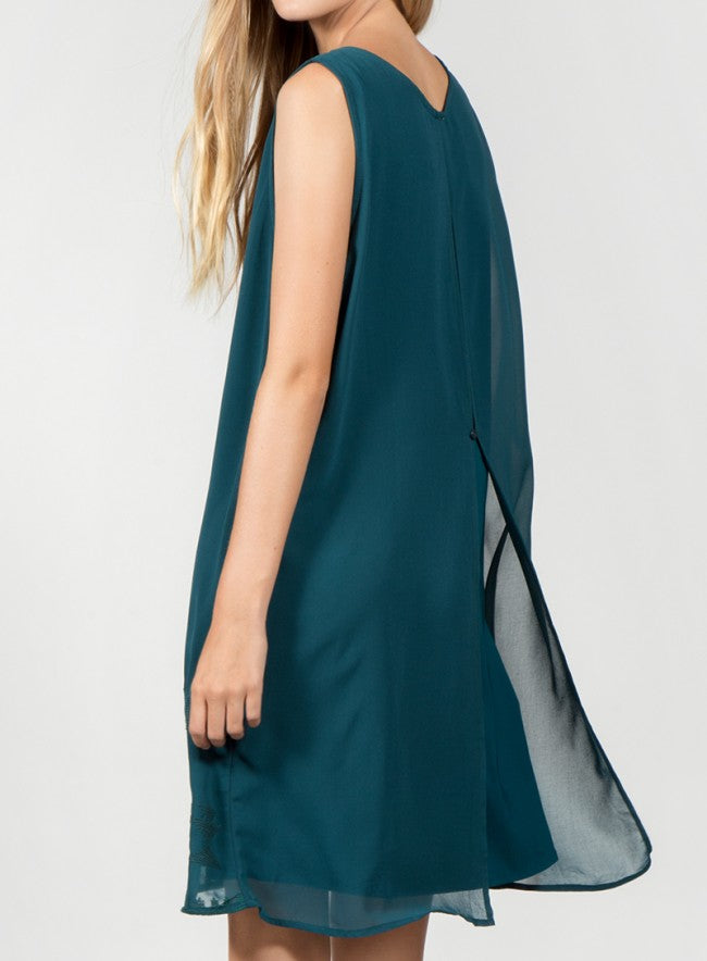 Sleeveless Embroidered Dress w/ Split Back in Hunter Green