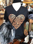 Leopard Heart Black T-Shirt