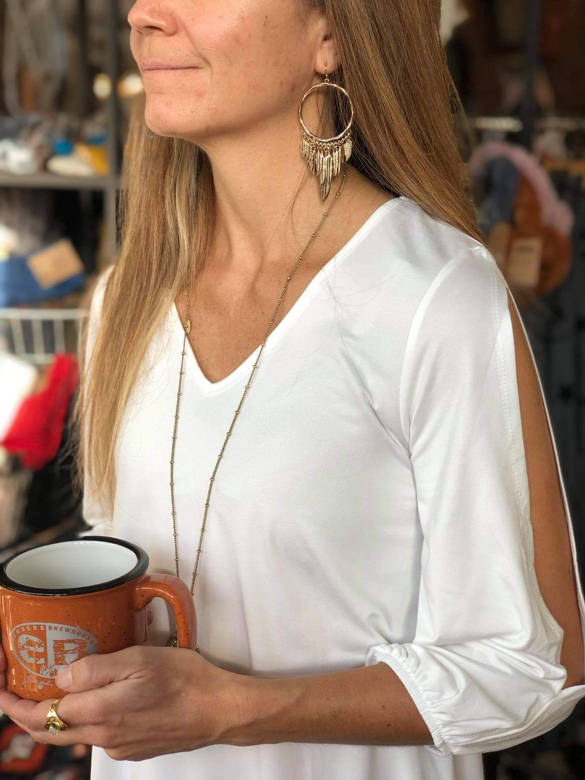 V-Neck Off White Top w/ Slit Sleeves