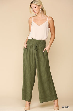 Wide Leg Pleated Detail Waist Pants in Olive