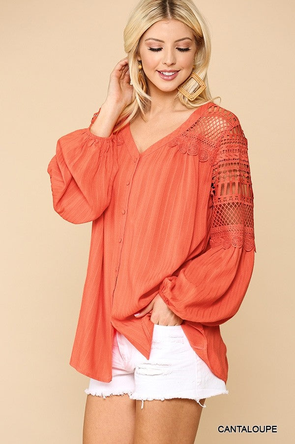 Melon V-Neck Button Down Blouse