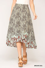 Animal Border Printed Midi Skirt in a Brown Mix