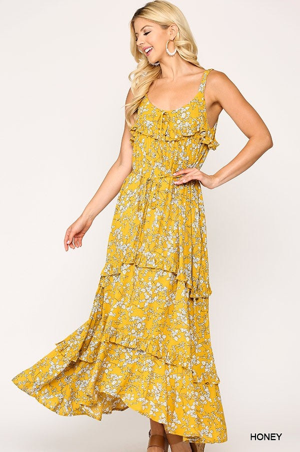 Floral Print Prairie Maxi Dress in Honey