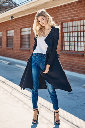 Draped Front Black Trench Coat w/ Waist Belt
