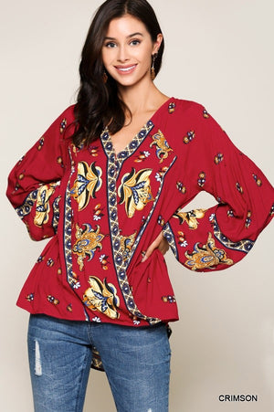 Tribal Border Printed Surplice Long Puff Sleeve Top in Crimson