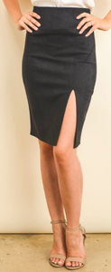 Black pencil skirt with side slit front view.