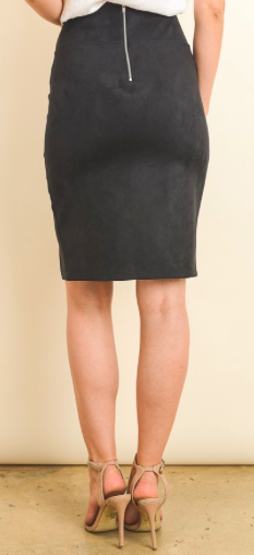 Black pencil skirt back view with zipper closure.