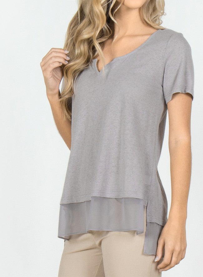 V-Neck Knit T-Shirt w/ Mesh Hem in Grey