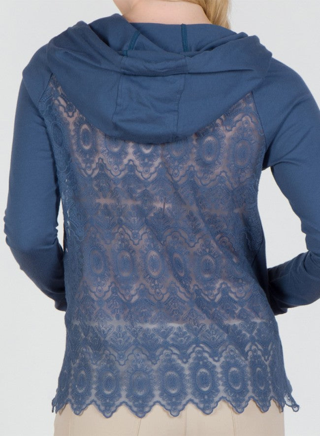 Lightweight Hoodie w/ Lace Back Detail in Blue