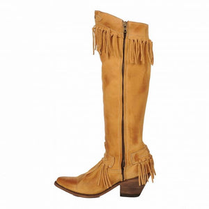 "Old Gringo 17"" Nikka Beige Fringe Leather Cowboy Boots"