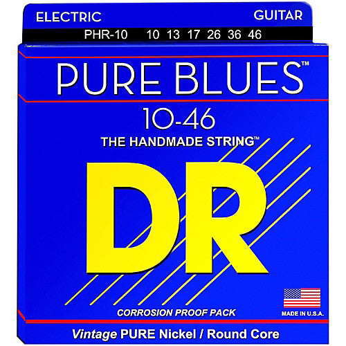 DR Strings Pure Blues PHR-10 10-46 Pure Nickel Medium Electric Guitar Strings - Jakes Main Street Music