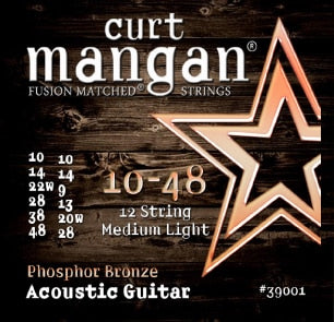 Curt Mangan Phosphor Bronze 12-String Guitar Strings 39001 (Med-Light 10-48) - Jakes Main Street Music