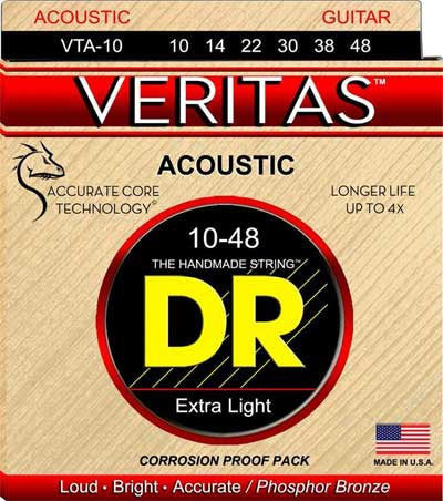 DR Strings VTA-10 10-48 Veritas Phosphor Bronze Hex-Core Extra Light - Jakes Main Street Music