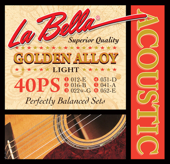 LaBella 40PS Golden Alloy Acoustic Strings - Light - Jakes Main Street Music