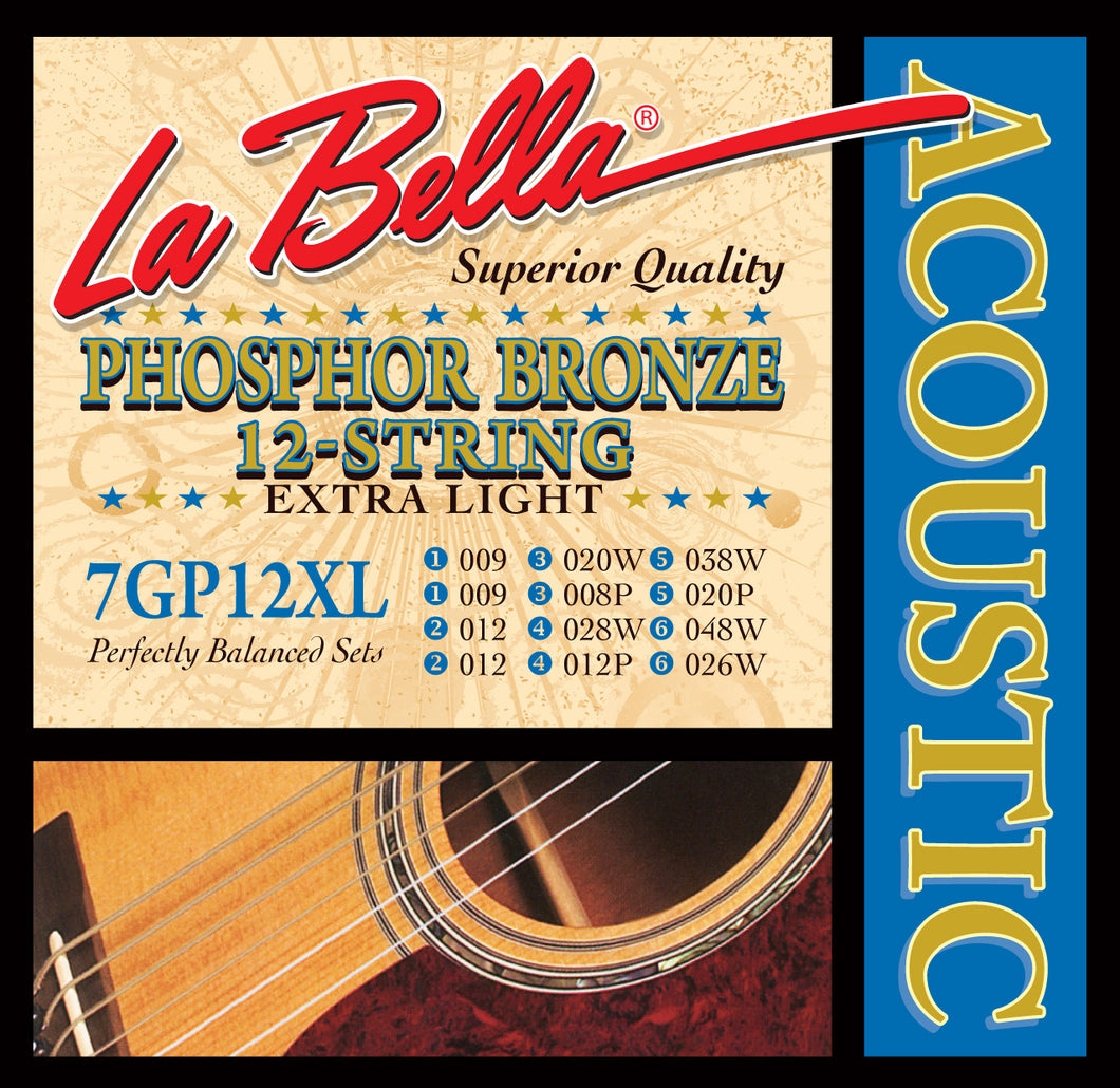 LaBella Phosphor/Bronze 12-String X-Light Guitar Strings 7GP-12XL