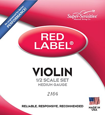 Red Label Super Sensitive 1/2 Size Medium Gauge Violin Strings 2104 - Jakes Main Street Music