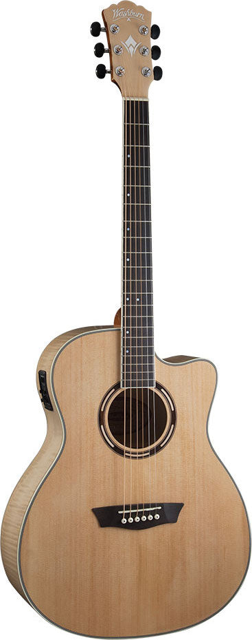 Washburn AG40CEK Apprentice Series Cutaway Acoustic Electric, Spruce and Flamed Maple