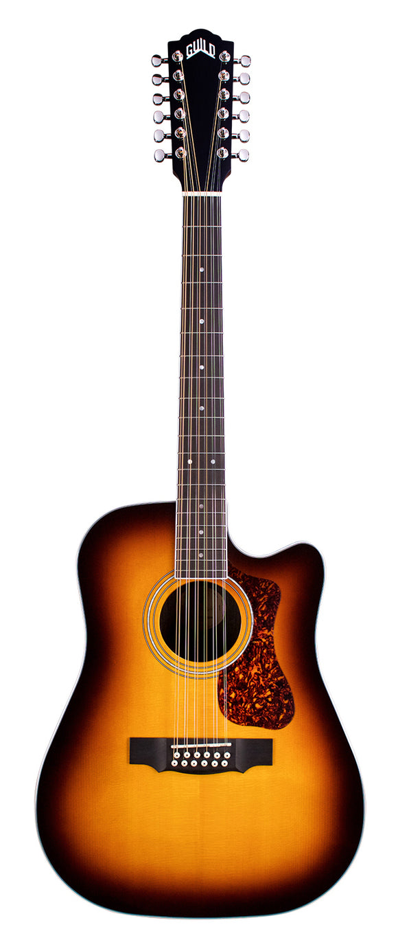 Guild 2612CE-ATB Dreadnaught 12-String, Solid Spruce Top, Ebony Archback.