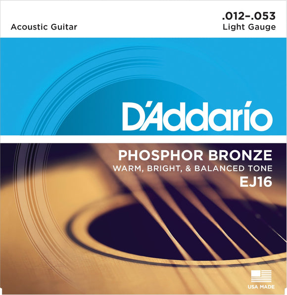 D'Addario EJ16 Phosphor Bronze Light Gauge Strings 12-53 - Jakes Main Street Music