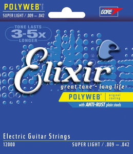 Elixir Polyweb Electric Guitar Strings - Super Light - Jakes Main Street Music