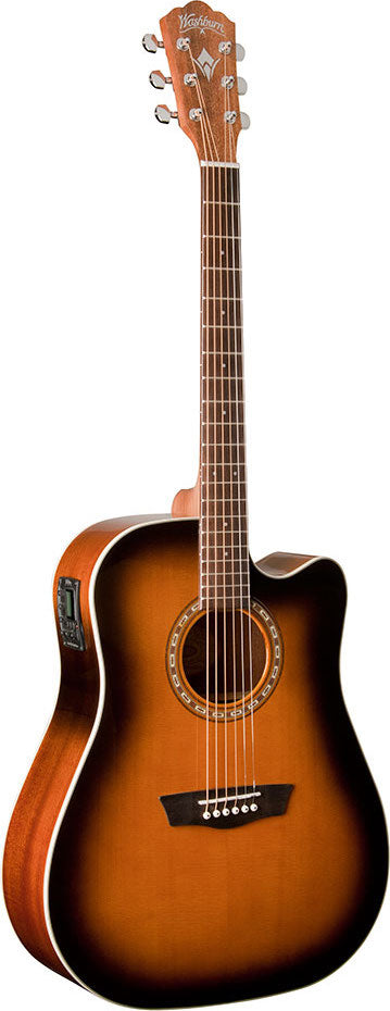 Washburn WD7SCEATB Dreadnaught Cutaway Acoustic Electric Guitar
