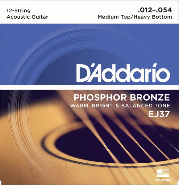 D'Addario EJ37 Phosphor Bronze Acoustic 12-Strings - Medium Top Heavy Bottom - Jakes Main Street Music