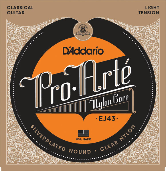 D'addario Pro-Arte Classical Guitar Strings - Light Tension EJ43 - Jakes Main Street Music