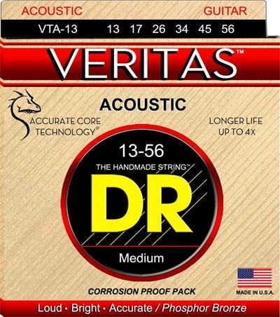 DR Strings VTA-13 13-56 Veritas Phosphor Bronze Hex-Core Med - Jakes Main Street Music