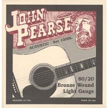John Pearse 200L 80/20 Bronze Acoustic Guitar Strings - Light - Jakes Main Street Music
