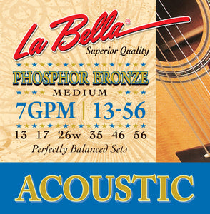 LaBella 7GPM Phosphor Bronze Medium Guitar Strings - Jakes Main Street Music