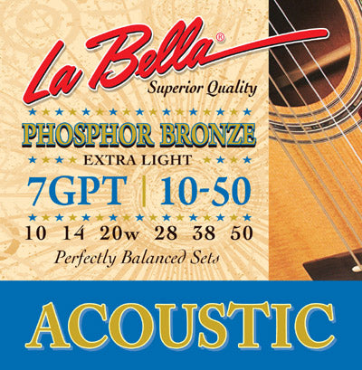 LaBella 7GPT Phosphor Bronze Light Guitar Strings - Jakes Main Street Music